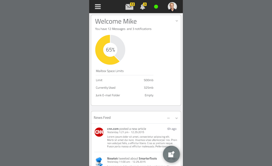 Mobile Interface - My Today Page - SmarterMail 16
