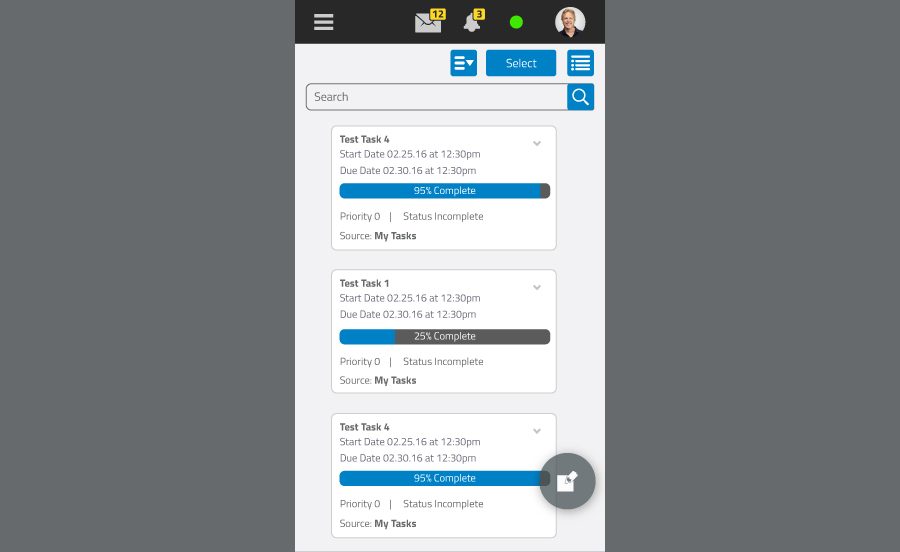 Mobile Interface - Tasks - SmarterMail 16