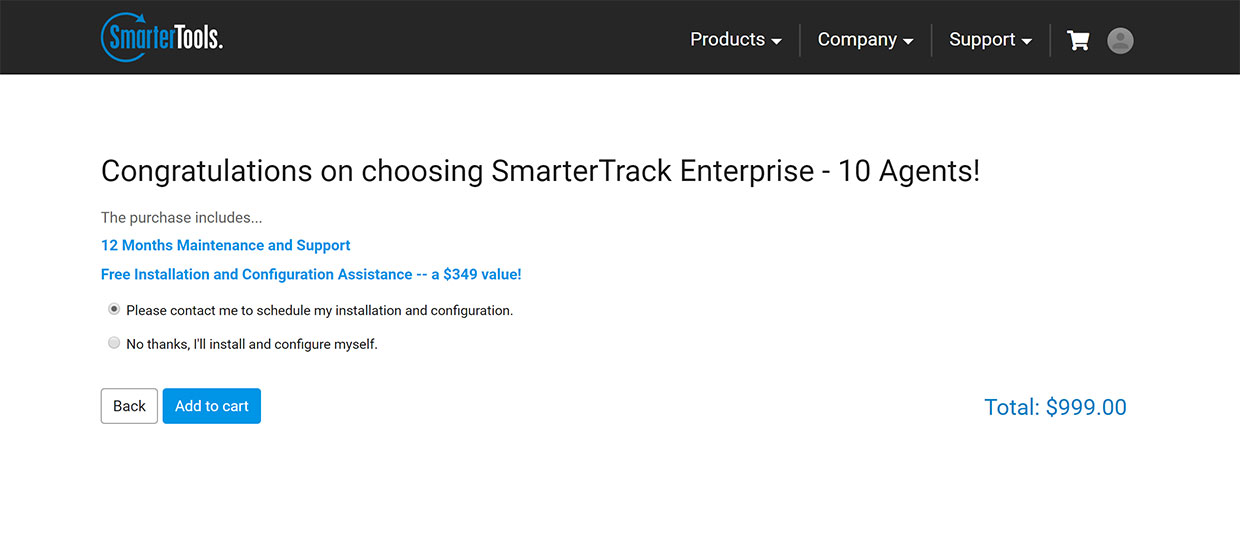 free installation of SmarterTrack on premise helpdesk