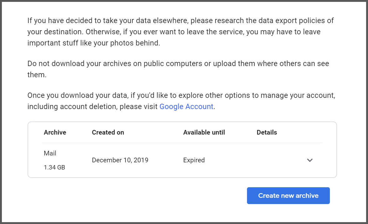 Google's API warning