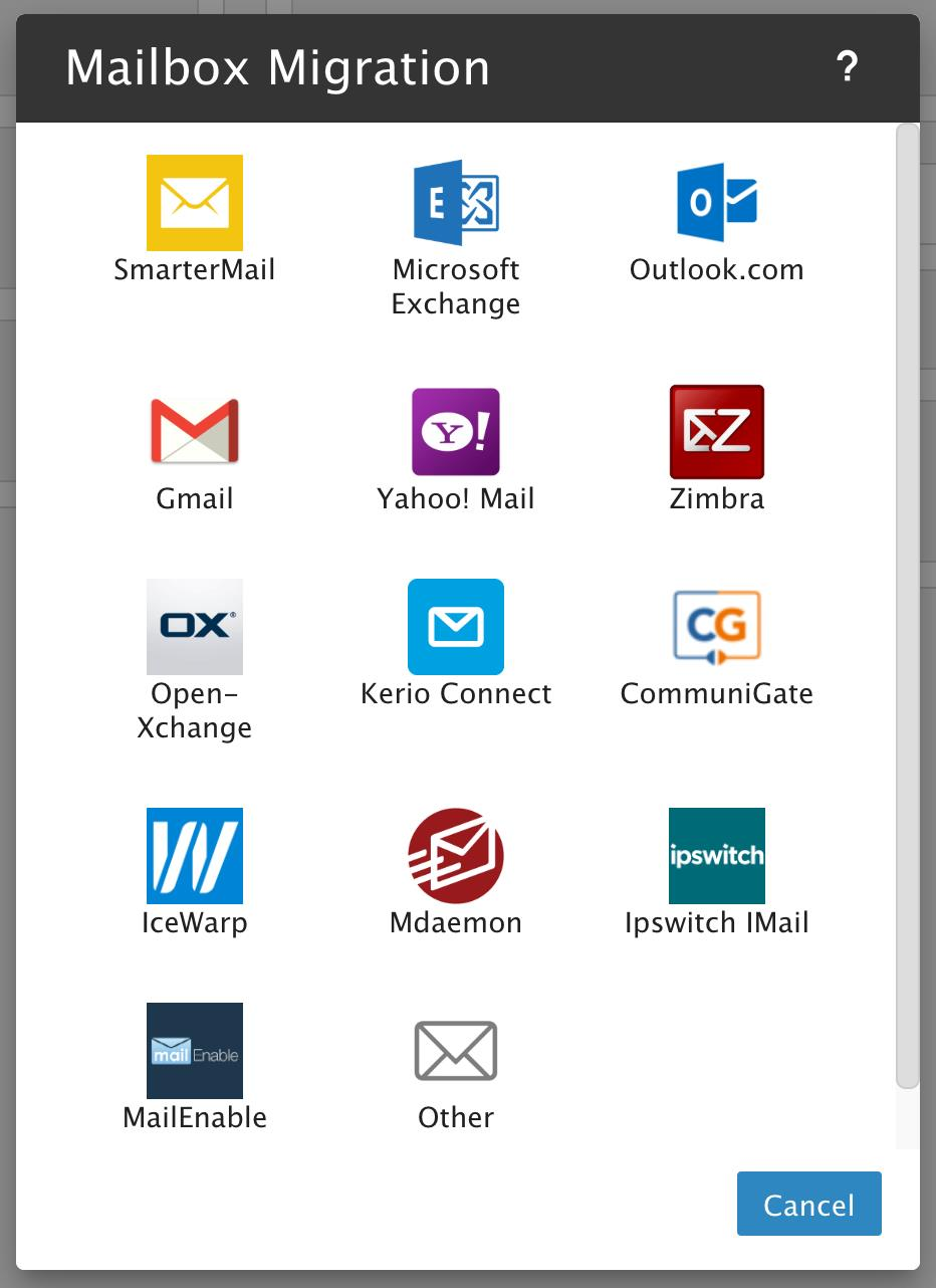 SmarterMail Mailbox Migration Options
